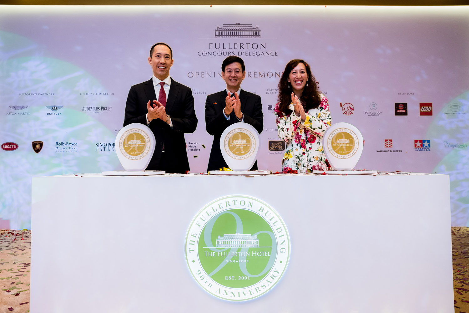 Mr Daryl Ng, Deputy Chairman of Sino Group (left); Guest of Honour Mr Lim Eng Hwee, Chief Executive Officer of the Urban Redevelopment Authority (centre) and Ms Nikki Ng, Group General Manager, Sino Group (right), unveiled the commemorative Mile Zero Marker.