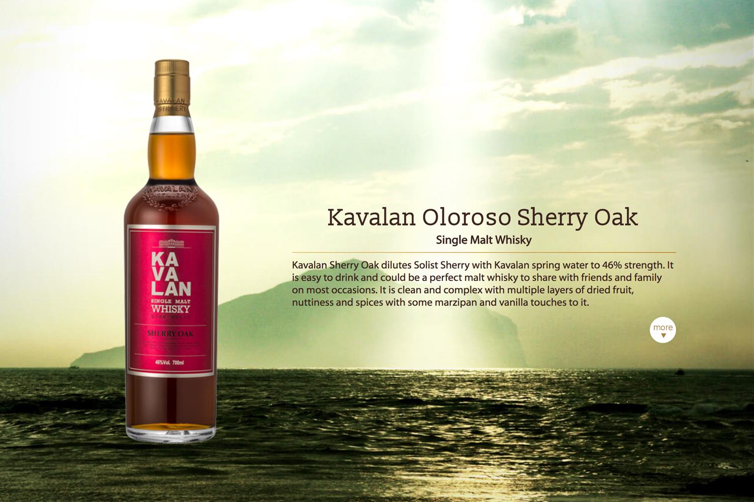 The Kavalan Oloroso Sherry Oak had received the highest grade possible -- Gold Outstanding.